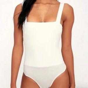Lulu's Symbolize White Square Neck Bodysuit Large
